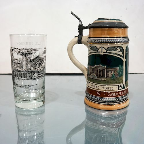 LBJ and A.N. Kosygin Glass, Together w/ A Stein