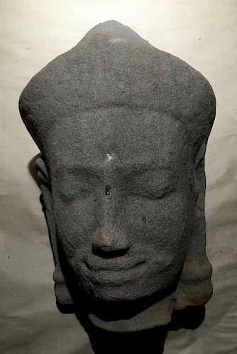 Sandstone Head, Khmer, 12-13th Century