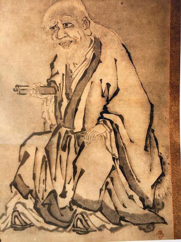 Scroll, Zen Patriarch, 16/17th Century signed Kano Motonobu (1476-1559)