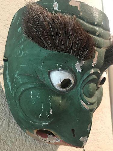 Pair of Bugaku Mask of Korobase, Lacquered Wood, Japan,