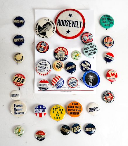 Group of Roosevelt & Wallace Campaign Buttons