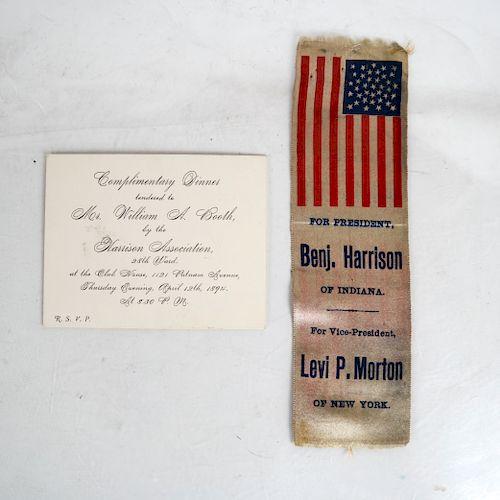 Unlisted Benj. Harrison + Levi Morton Silk Ribbon