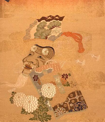 Embroidered Fukusa of Okina Mask, Early Meiji Period