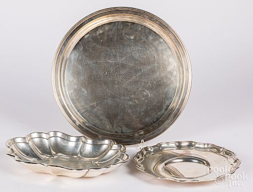 Three sterling silver trays