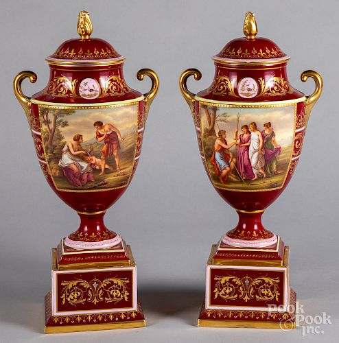 Pair of Royal Vienna porcelain urns, 19th c.