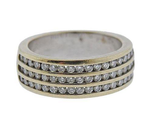 14k Gold Diamond Three Row Band Ring
