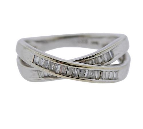 14k Gold Diamond Crossover Ring