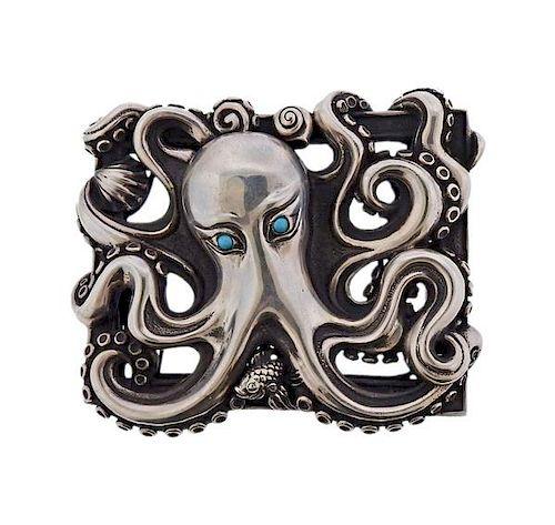 Kieselstein Cord Sterling Silver Turquoise Octopus Belt Buckle