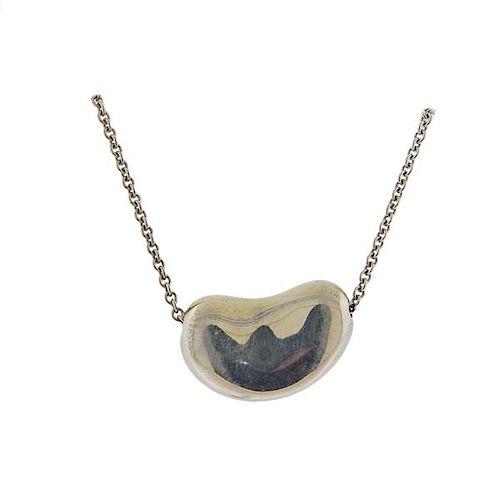 Tiffany & Co Elsa Peretti Silver Bean Pendant Necklace
