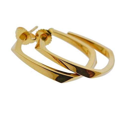 Tiffany & Co Gehry 18K Gold Hoop Earrings