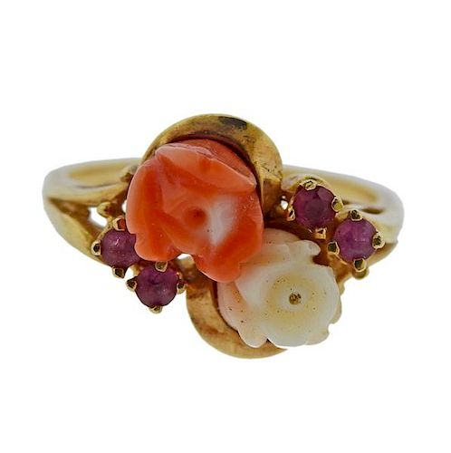 14K Gold Carved Coral Red Stone Ring