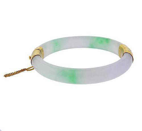 14k Gold Jade Bangle Bracelet
