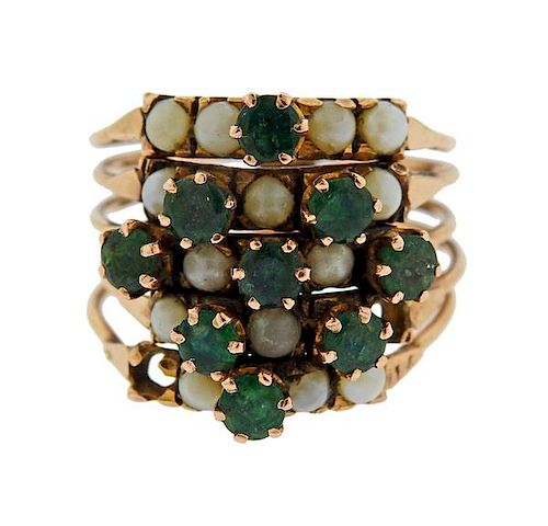 14k Gold Green Stone Pearl Harem Ring