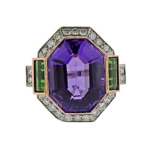 18k Gold Platinum 19ct Amethyst Tourmaline Diamond Ring