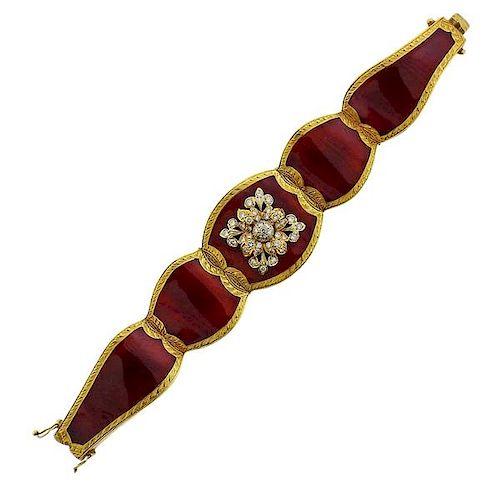 18k Gold Diamond Red Enamel Bracelet