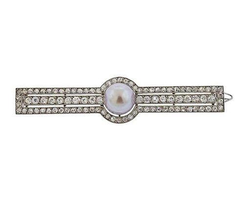 Cartier 4.80ct Natural Grey Pearl Diamond Platinum Brooch Pendant