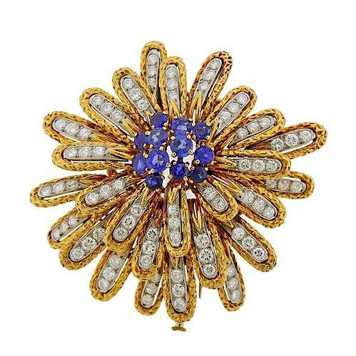 Van Cleef & Arpels Diamond Sapphire 18k Gold Brooch