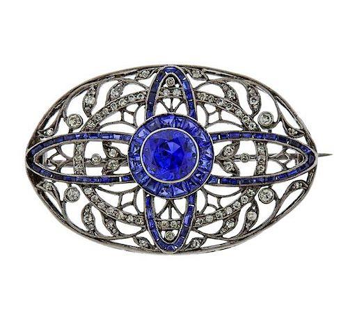 GIA No Heat Sapphire Diamond 18k Gold Brooch Pin