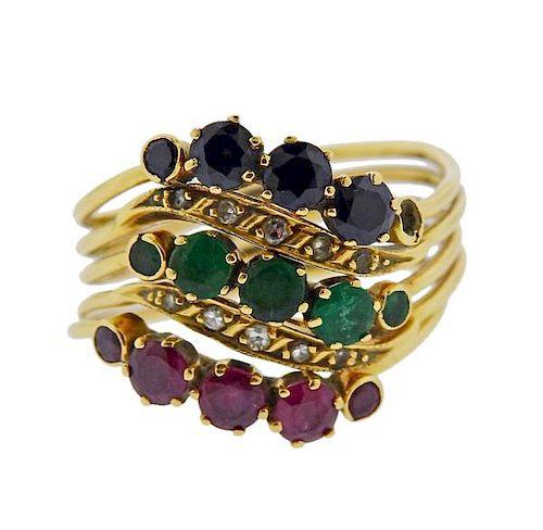 Antique 18k Gold Diamond Emerald Sapphire Ruby Harem Ring