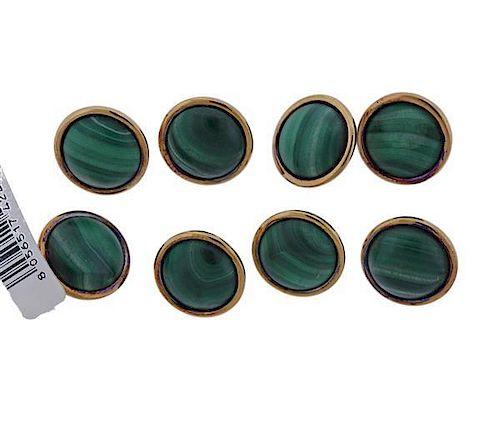 Buccellati Sterling Silver 18k Gold Malachite Button Set of 8