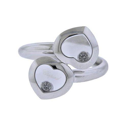 Chopard Happy Diamond 18k Gold Heart Bypass Ring