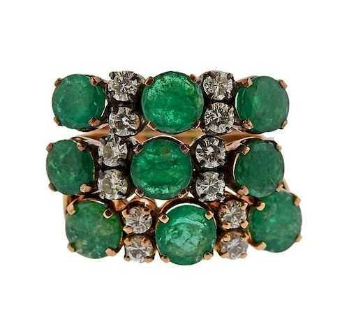 14k Gold Diamond Emerald Ring Set of 3