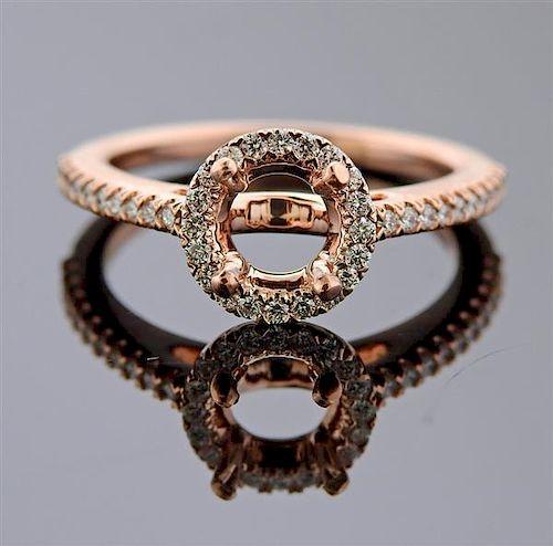 14k Rose Gold Diamond Halo Engagement Ring Setting