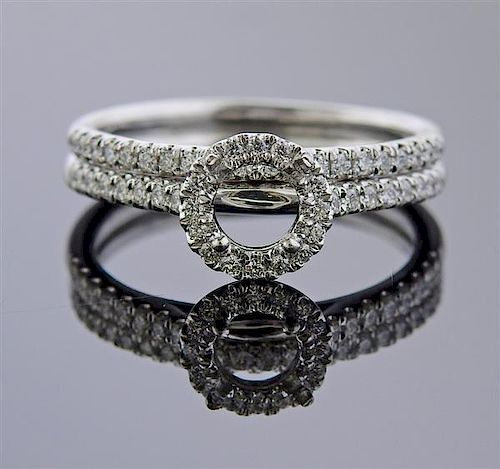 Platinum Diamond Bridal Ring Setting Set