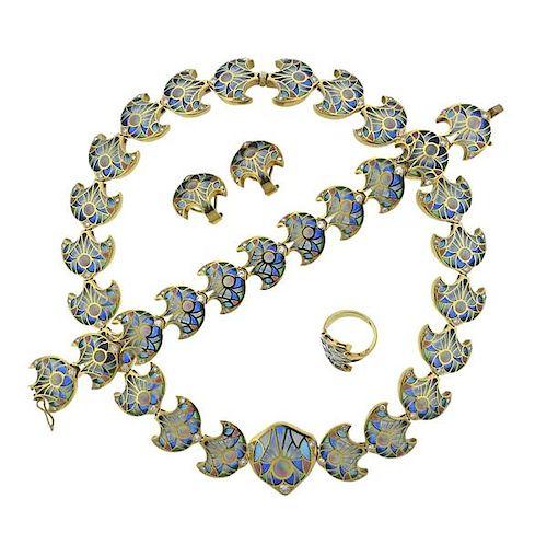 Plique A Jour Diamond 18k Gold Ring Necklace Bracelet Set