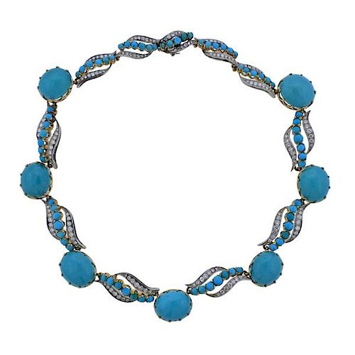 Mid Century Diamond Turquoise 18k Gold Necklace