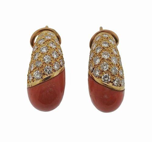 Coral Diamond 18k Gold Half Hoop Earrings