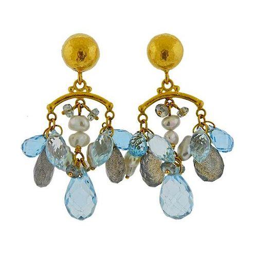 Gurhan Confetti 24k Gold Gemstone Pearl Earrings