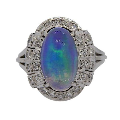 3.18ct Opal Diamond Platinum Ring