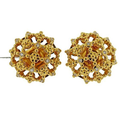 Temple St. Clair Diamond 18k Gold Fiori Earrings
