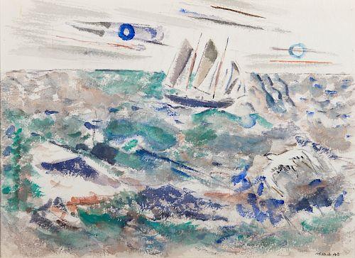 JOHN MARIN, (American, 1870-1953), Boat and Gull, 1945