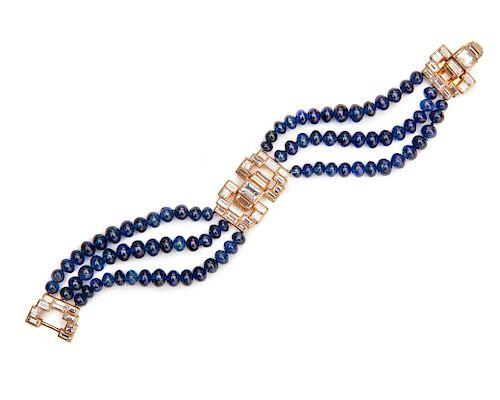VAN CLEEF & ARPELS 18K Gold, Diamond, and Sapphire Bracelet