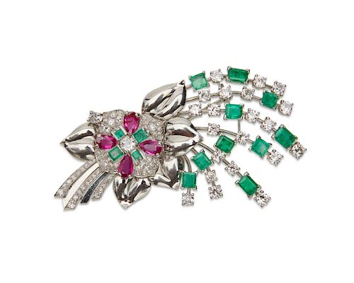 RAYMOND YARD Platinum, Diamond, Emerald, and Ruby Brooch