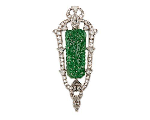 Platinum, Carved Jadeite, and Diamond Pendant/Brooch