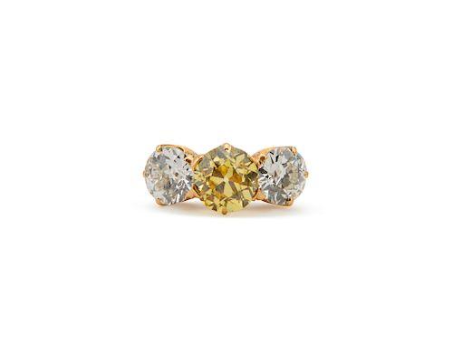 TIFFANY & CO 18K Gold, Colored Diamond, and Diamond Ring
