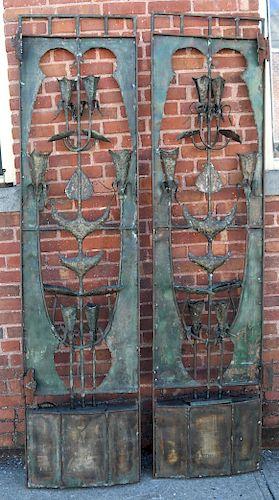 George CURTIS: Pair Brutalist Fountain Gates