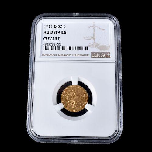 1911D U.S. Indian Head 2-1/2 Dollar