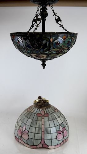 Two Leaded Glass Tiffany-Style Shades