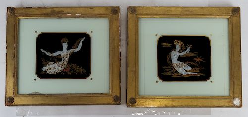 Pair Reverse Pictures on Glass, Women