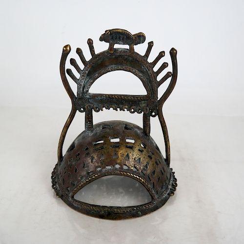 Tibetan Sculpture of a Bronze Helmet
