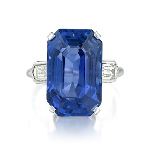 16.15-Carat Ceylon Unheated Sapphire and Diamond Ring