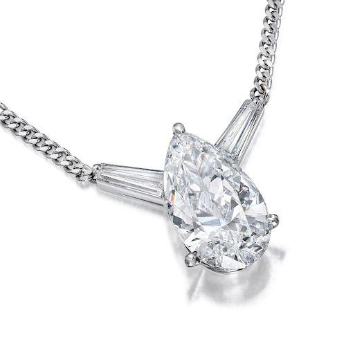 4.36-Carat Pear-Shaped Diamond Necklace