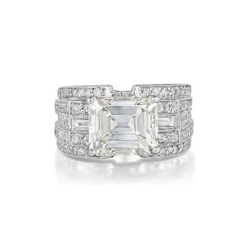 4.26-Carat Emerald-Cut Diamond Ring