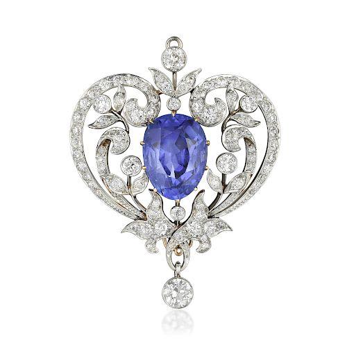 Marcus & Co. Antique 13.85-Carat Burmese Unheated Sapphire and Diamond Brooch
