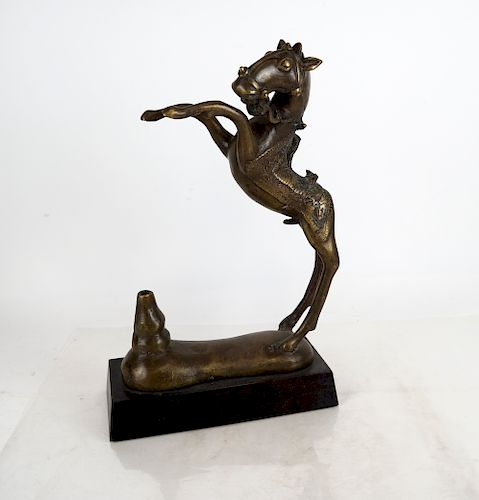 Chinese Bronze Sculpture of Rearing Horse