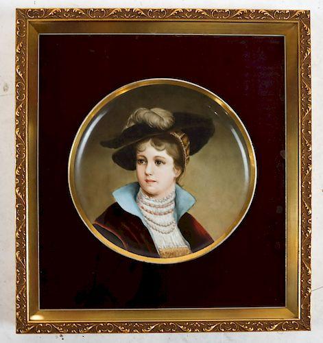 Framed Porcelain Plaque Charger: Female Portrait